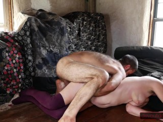 Couple Wrestling Leads to Cock Sucking, Hairy Pussy Squirting, and Big Load on MILF's Face and Chest