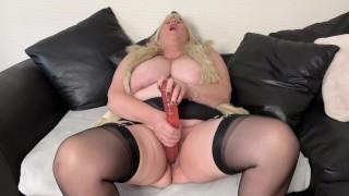 "Kinky Big Tit Stepmom loves her 18"" double ended Dildo"