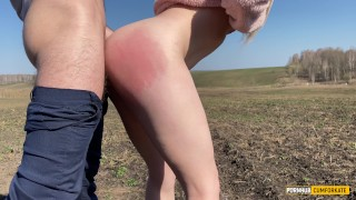 Stepsister in a plush hoodie moans all over the field from a big cock in her pussy