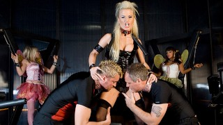Jamie Brooks and Her Friends Dominate Submissive Dudes