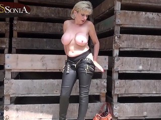 Leather heels tits...