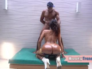 Latin tgirl rides bareback...