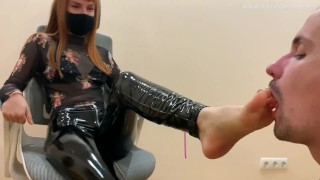 Submissive Guy Kneels In Front of Goddess Kira and Serves Here Foot - Sucks Toes and Licks Her Feet