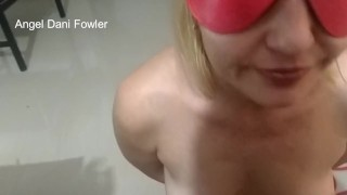 Angel Fowler Blindfolded Tied Up Sitting on Floor Makes Dani Danger Cum in Her Mouth HD -1080 -005