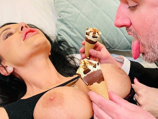 Hard anal fuck and ice cream mess french...