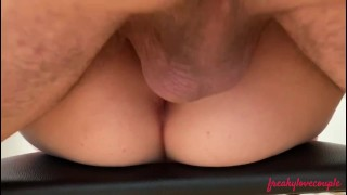 Morning sex on chair ends up with dripping creampie