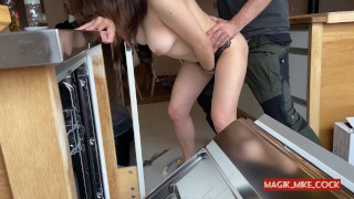 PLUMBER FLASHING 2- hot milf want handyman's cock after teasing naked for him