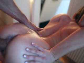 Busty Brunette Assfucked Standing Doggy