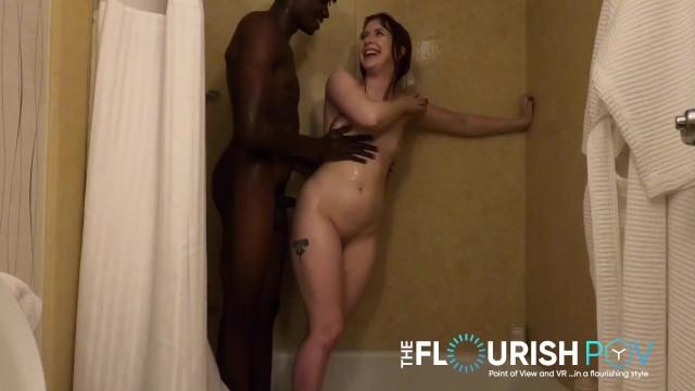 Redhead Hannah Grace Shower Fucks 25yo Ebony Dude 19