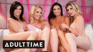 ADULT TIME - MILF Mania! Bachelorette Party Has SUPER HOT Lesbian Foursome!