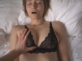 The sexiest in black lace bra...