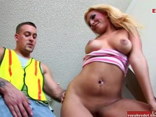 Big booty blonde fucks wild in a porn...