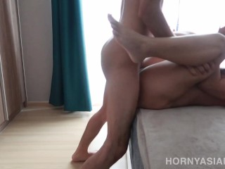 Morning sex with long black hair...