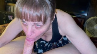 Granny sucking him no hands till he explodes in her mouth and cum runs out the sides of her mouth.