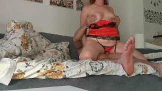Sexy MILF Seduces man by Sucking his Cock & taking Load