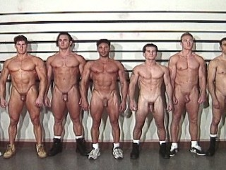 8 muscular jocks locked up together...