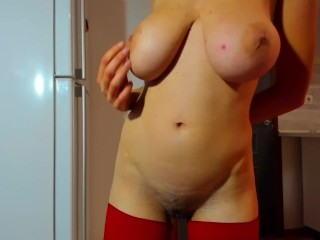 Hot wet brunette Myla_Angel's long wet erotic show in pantyhose. Boobs! Nipples! Pussy!