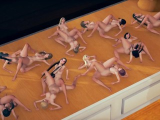 Tiny cute little tribbing orgy show on table...