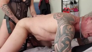 Sissy slut getting fucked hard by his mistress in boots part 2 of 3