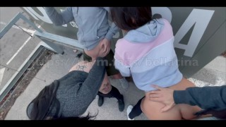 REALITE - crazy 4some outside in Spanish laundromat ! Amateur Sextwoo Bellatina