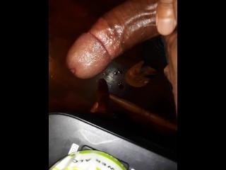 Rubbing massive oily cock till...