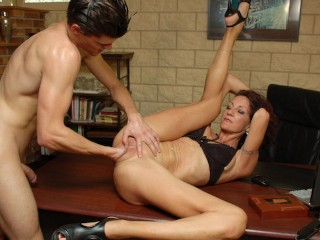 Office slut fists herself before holes destroyed by...