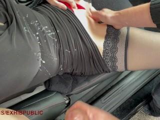 two voyeurs cum on me after giving me an orgasm, dogging car, public car
