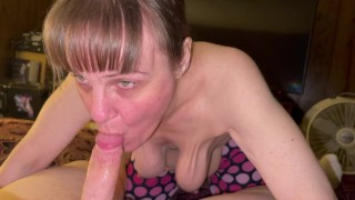 Granny sucks youngman till he explodes in her mouth and shows and swallows his cum.