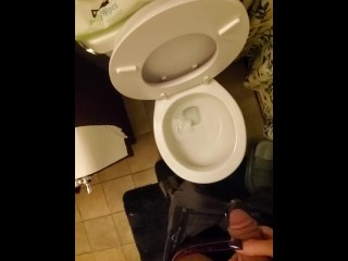 Holding a gimpy old man pervert's dick while he pees and controlling the stream, aiming his cock