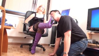 goddess glorias home office boot licking slave