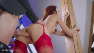 ULTRAFILMS Kate Rich wearing red lingerie seducing a guy into a great fuck action