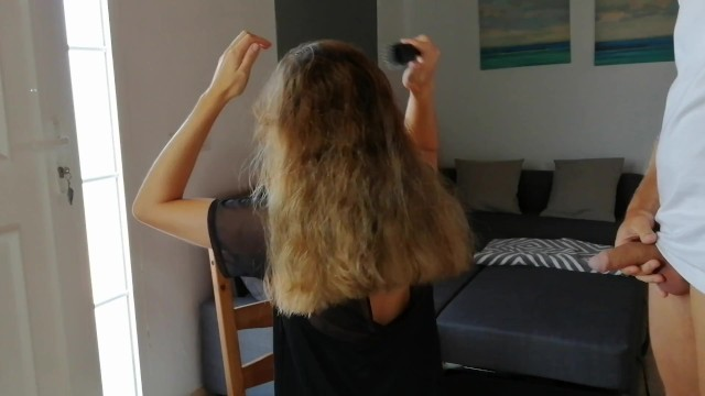 Pissing in her hair while she combs 19
