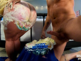 Curvy ass blonde sits on cake for brian...