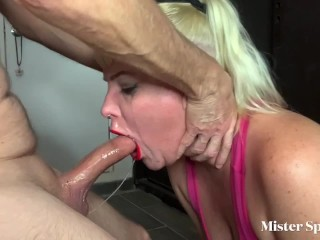 Intense sloppy with throat bulge queen spunky swallows...