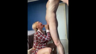 Busty Pregnant Schoolgirl ballbusts and gives a blowjob as a reward