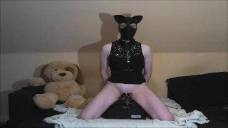Sissy Kitten bound on Sybian with hands free orgasm in chastity cage