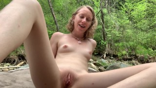 Petite Little Slut Sarah Evans Loves fucking Herself in Public