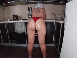 Milf stands kitchen thong and dreams of...