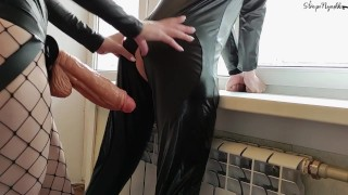 Big cumshot from big strapon in his asshole