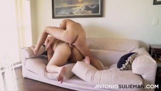 A pretty short and fat girl screaming from anal sex