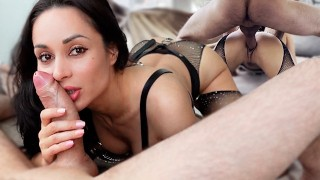 Perfect Girl Deep Sucking Huge Dick and had Doggystyle Sex - Oral Creampie