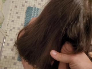 cum in hair fetish cumshot and brush through dry hair