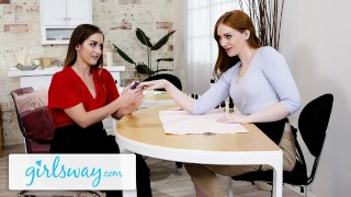 GIRLSWAY Sexy Ginger Beautician Trains Her Rookie Hot Friend