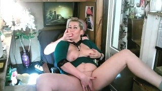 An old slut AimeeParadise gets slapped on the lips with a dick and gets her pussy tortured hard!