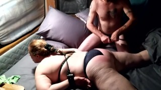 BDSM chubby wife tied up good, and flogged hard. Squirted so hard, 3 mouthful's, and a huge mess.