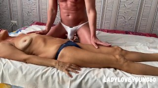 Massage for stepmom blowjob and cum on belly