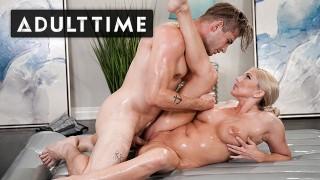 ADULT TIME - Christie Stevens Uses NURU Gel To Slide Son-In-Law's Cock Inside Her MILF Pussy