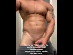 Jerking my fat cock in the bathroom