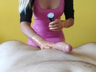 Handjob 5 orgasms with golden using cock ring...