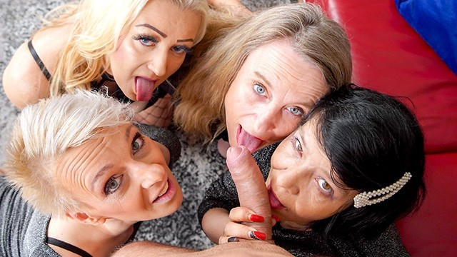 Four Grannies play with a Meat Stick